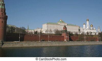 europe, tours, rivière moscow, églises, russie, vue, kremlin, banque, gauche