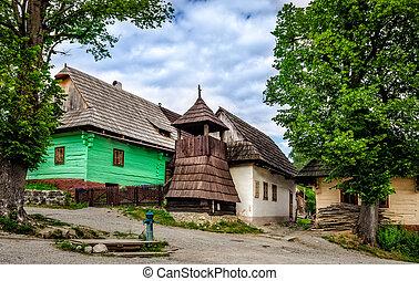 europe, traditionnel, slovaquie, vlkolinec, village