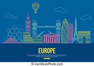Europe travel background with place for text. Isolated European outlined sightseeings and symbols. Skyline detailed silhouettes. Vector.