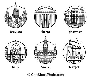 Europe Travel Destinations - Main Europe cities icons...