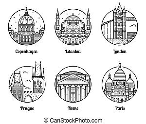 Europe Travel Destinations Icons - Main Europe cities icons...