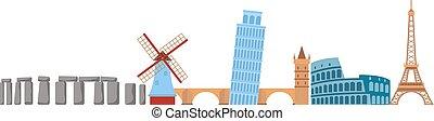 Europe travel vector illustration. - Europe travel skyline....