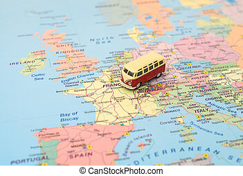 europe, trip., concept, carte, voiture, france.