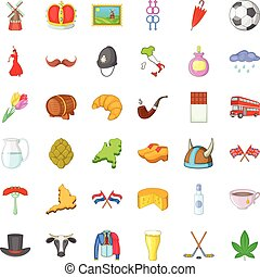 Europe trip icons set, cartoon style