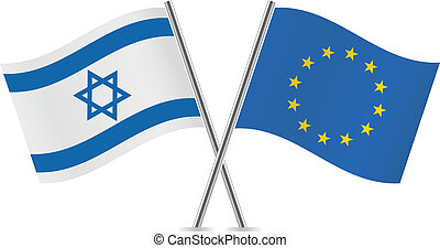 Europe union and Israel flags. Vector illustration.