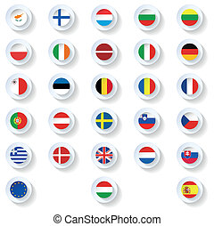 Europe union countries flags flat icons set vector graphic