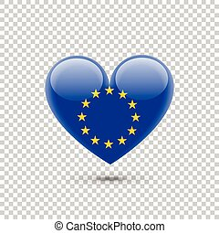 Europe Union Flag Heart Icon on Transparent Background....