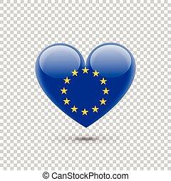 Europe Union Flag Heart Icon on Transparent Background....