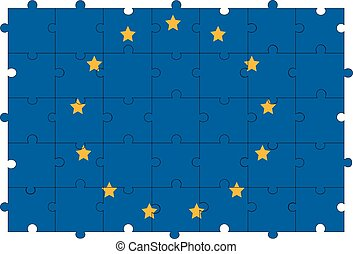 Europe union flag in form of puzzle