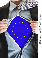Europe Union flag on shirt - Business man showing Europe...
