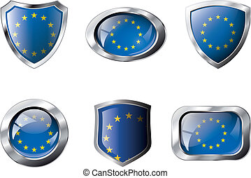 Europe union set shiny buttons and shields of flag with...
