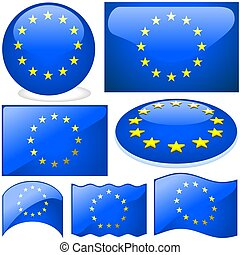 Europe Union Set - detailed illustrations with glass effect