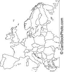 Europe vector map - Outline Contour Vector map