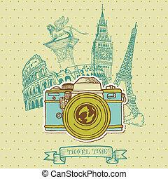 europe, vendange, -, vecteur, architecture, agréable, appareil photo, carte