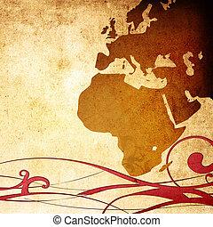 europe, vieilli, map-grunge, typon