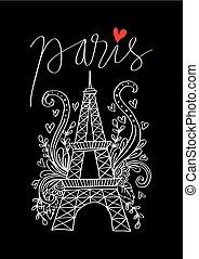 europe, ville, nom, paris, hand-drawing, européen