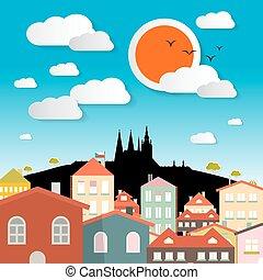 europe, ville, tchèque, prague, -, illustration, république