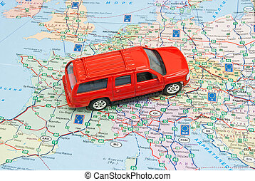 europe, voiture, stylo, rouges, carte