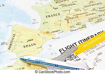 europe, voyage, concept, vol