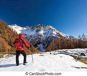 europe., winter, backpacking, piemonte, alpen, italiaanse , bergen., man