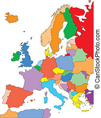 Europe with Editable Countries - Europe Regional Map with...