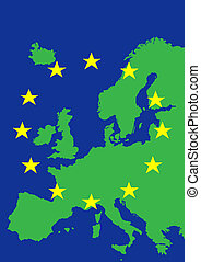 Europe with flag of European Union
