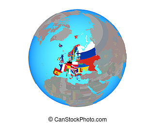 Europe with flags on globe isolated
