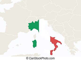 Europe with highlighted Italy map.