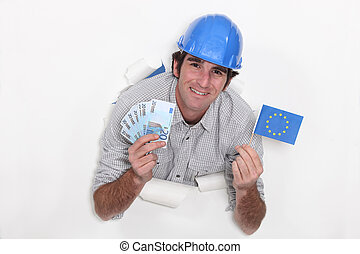 europeaan, aannemer, met, contant