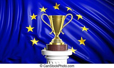 europeaan, achtergrond, gouden, vlag, wedstrijdbeker