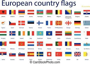 europeaan, land, vlaggen