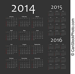 European 2014, 2015, 2016 year vector calendars