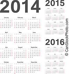 European 2014, 2015, 2016 year vector calendars