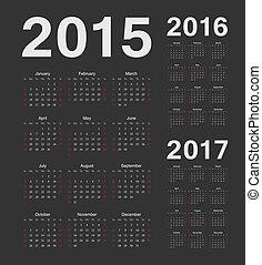 European 2015, 2016, 2017 year vector black calendars