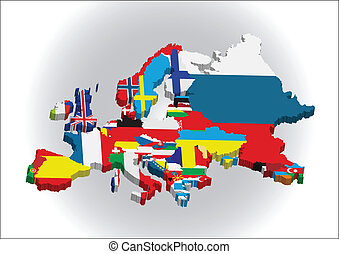 European 3D map - 3d Outline maps of the countries in...
