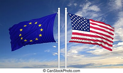 European and American flags