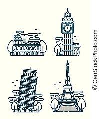 European Attractions.Paris Eiffel Tower.Rome Coliseum.Paris...