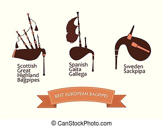 European Bagpipes Set, Vector Illustration Isolated on white...