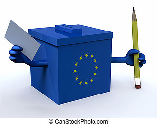 european ballot box with arms, pencil and voting paper, 3d illustration