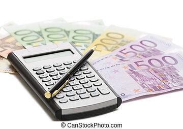 European  banknotes, calculator and pen