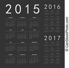 European black 2015, 2016, 2017 year vector calendars