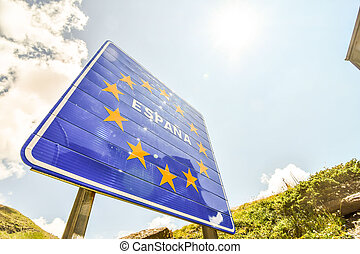 European Border between spain and france in the pyrenees ...