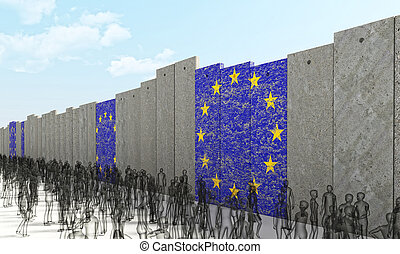 european border wall - border barrier concept with europe ...
