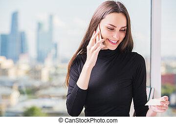 European businesslady making purchase order