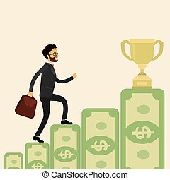 European Businessman goes up the stairs of money to the prize,