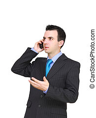European businessman with cell phone. Isolated
