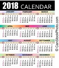 European calendar 2018. template. the week starts on Sunday....