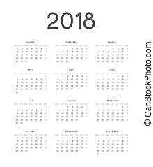European calendar is a simple template for 2018.