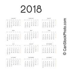 European calendar is a simple template for 2018