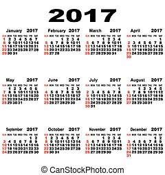European calendar of 2017. - Calendar, Event, Personal...